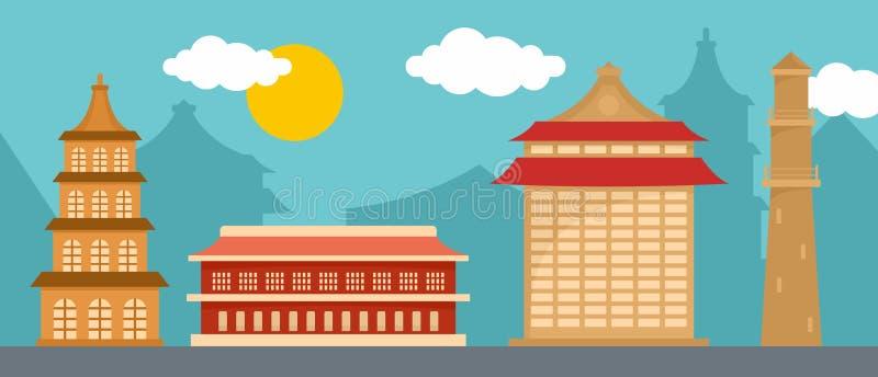 Orizzontale dell'insegna del punto di riferimento di Taipei, stile piano illustrazione vettoriale