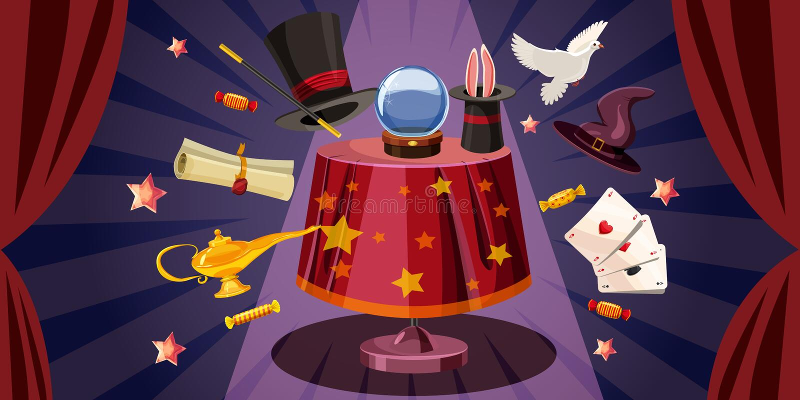 Orizzontale dell'insegna della tavola del mago, stile del fumetto illustrazione vettoriale