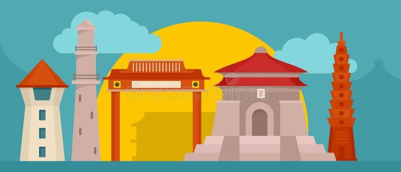 Orizzontale dell'insegna edifici di Taipei, stile piano royalty illustrazione gratis