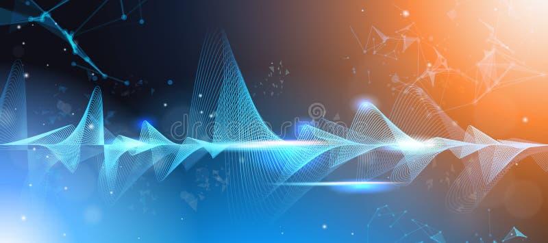 Orizzontale digitale di concetto di tecnologia dell'onda del fondo scuro musicale della barra dell'equalizzatore delle onde di mu illustrazione di stock