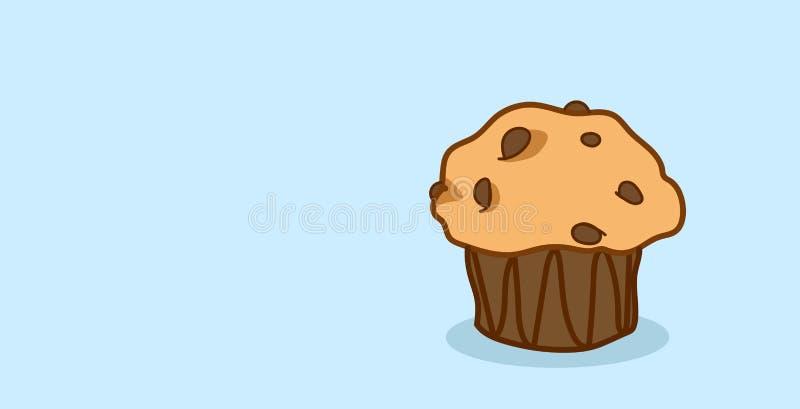 Orizzontale disegnato a mano del muffin del dolce del bigné del forno del dessert dell'alimento di schizzo dolce saporito sveglio illustrazione di stock