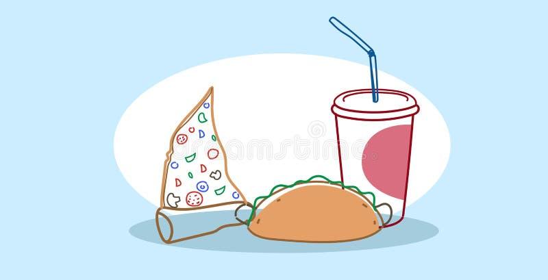 Orizzontale disegnato a mano di scarabocchio di schizzo di pasto rapido americano classico saporito dell'insieme del panino della illustrazione vettoriale