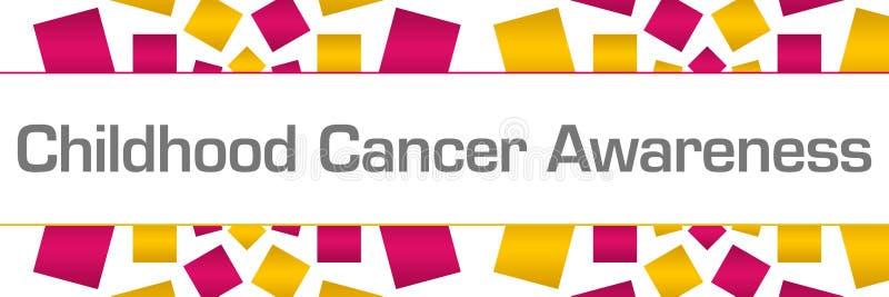 Orizzontale dorato di struttura di rosa di consapevolezza del Cancro di infanzia illustrazione di stock