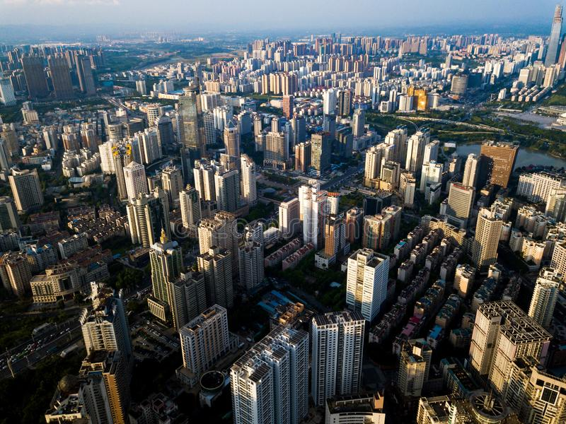 Orizzonte aereo di Nanning nella provincia del Guangxi della Cina fotografie stock