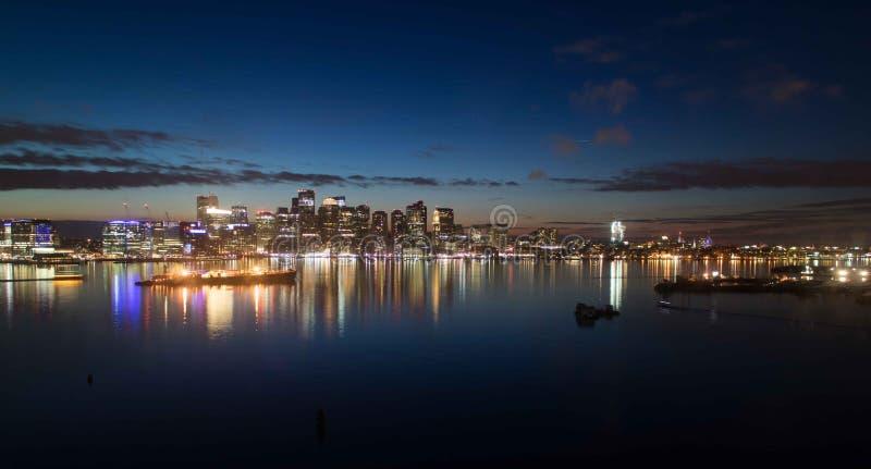 Orizzonte al crepuscolo - Boston Massachusetts della città di Boston immagine stock
