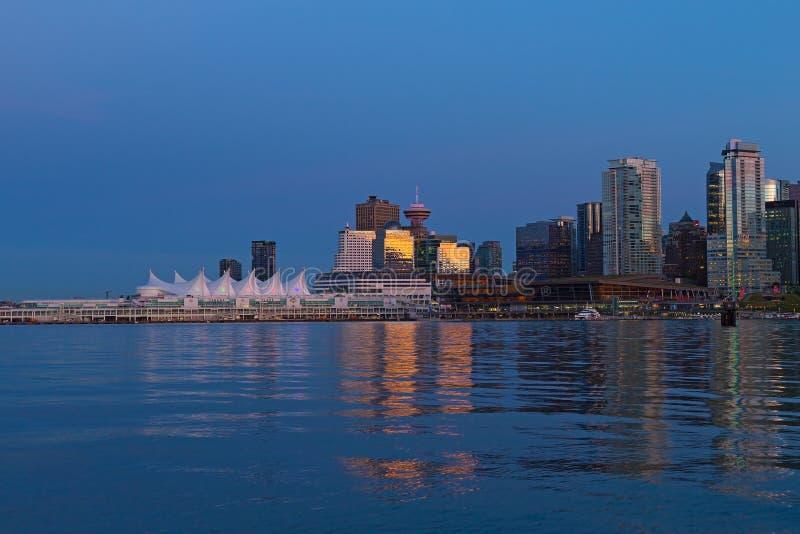 Orizzonte alla notte, Columbia Britannica, Canada di Vancouver fotografie stock libere da diritti