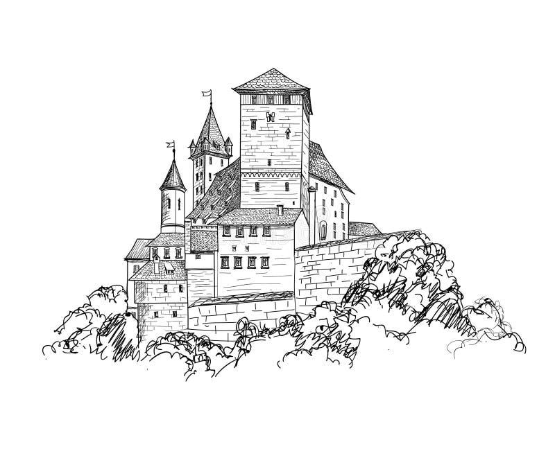 Orizzonte antico di schizzo della costruzione della torre dell'incisione del paesaggio del castello illustrazione di stock