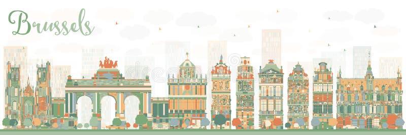 Orizzonte astratto di Bruxelles con le costruzioni di colore illustrazione di stock
