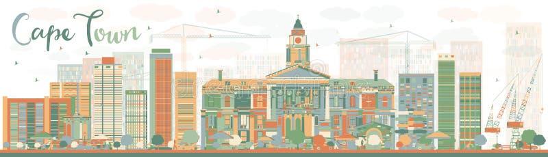 Orizzonte astratto di Cape Town con le costruzioni di colore illustrazione vettoriale