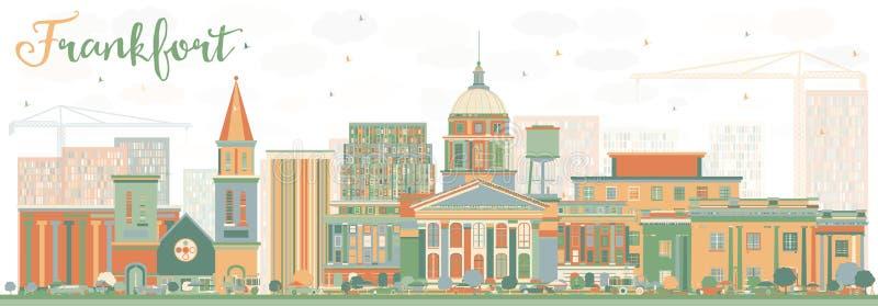 Orizzonte astratto di frankfurter con le costruzioni di colore illustrazione vettoriale