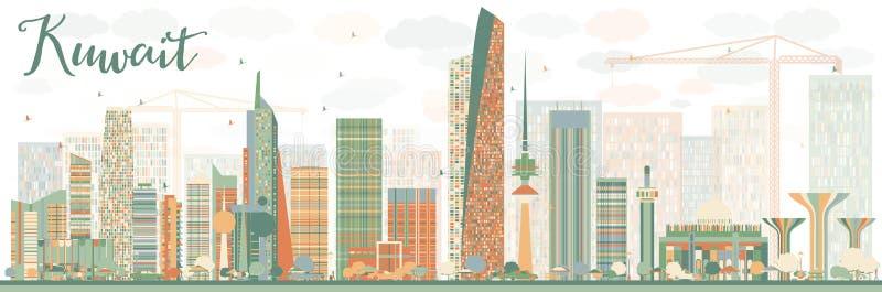 Orizzonte astratto di Madinat al-Kuwait con le costruzioni di colore illustrazione di stock