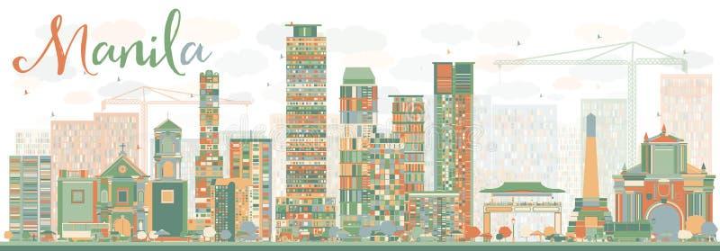 Orizzonte astratto di Manila con le costruzioni di colore illustrazione di stock