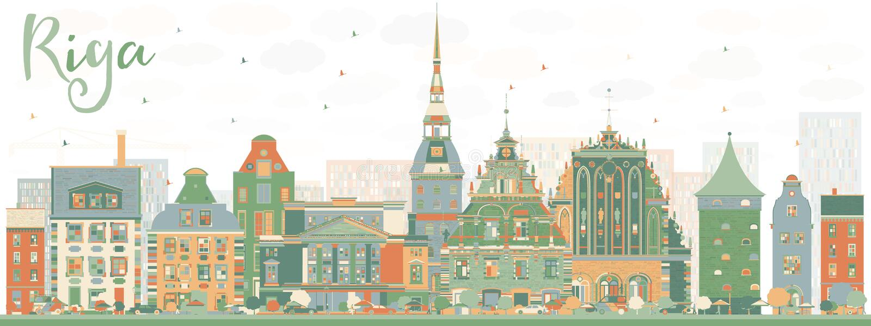 Orizzonte astratto di Riga con i punti di riferimento di colore illustrazione di stock