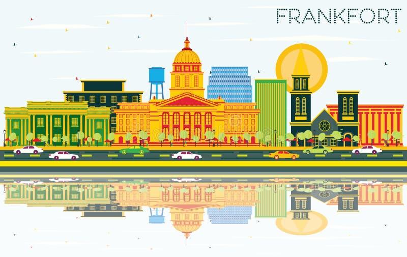 Orizzonte con le costruzioni di colore, S blu della città del Kentucky U.S.A. di frankfurter illustrazione di stock
