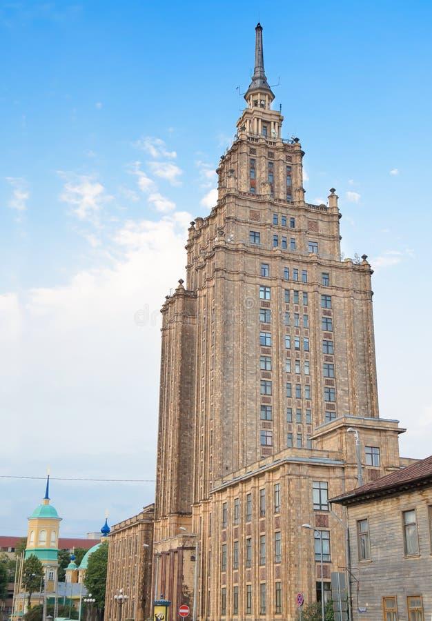 Orizzonte: Costruzione dell'accademia delle scienze lettone (1958), Riga, Lettonia È stato fondato come l'accademia del lettone S fotografia stock libera da diritti