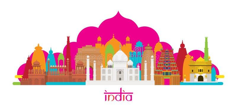 Orizzonte dei punti di riferimento di architettura dell'India illustrazione di stock