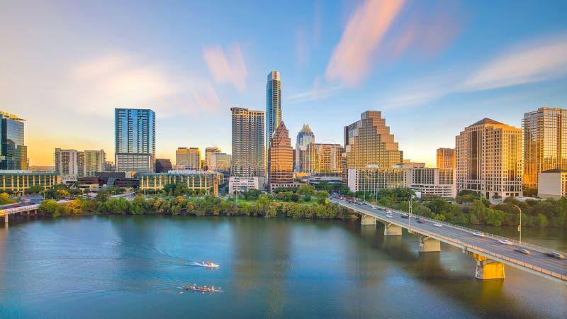 Orizzonte del centro di Austin, il Texas in U.S.A. dalla vista superiore immagini stock