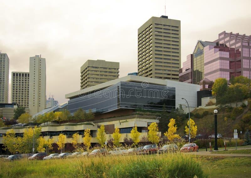 Orizzonte del centro di Edmonton immagini stock