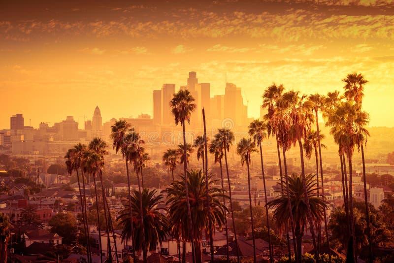 Orizzonte del centro di Los Angeles fotografie stock libere da diritti