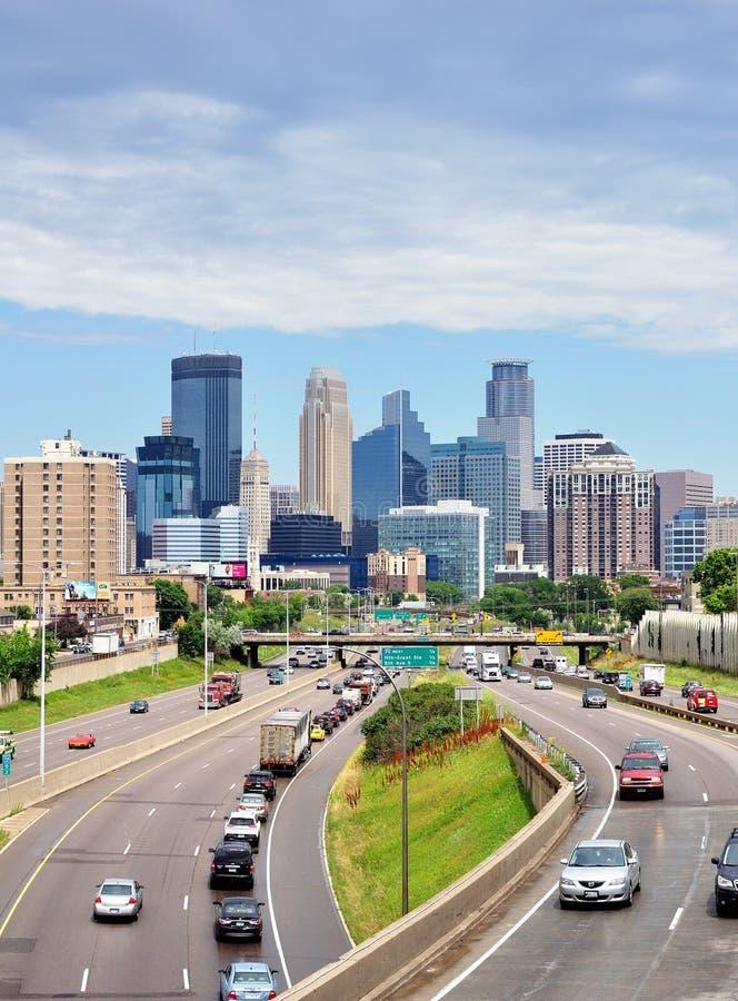 Orizzonte del centro di Minneapolis Minnesota fotografia stock libera da diritti