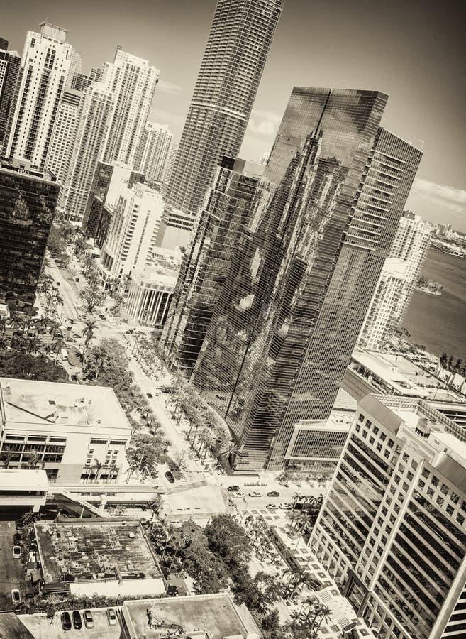 Orizzonte del centro di stupore un bello giorno, vista di Miami dal tetto della citt? fotografia stock libera da diritti