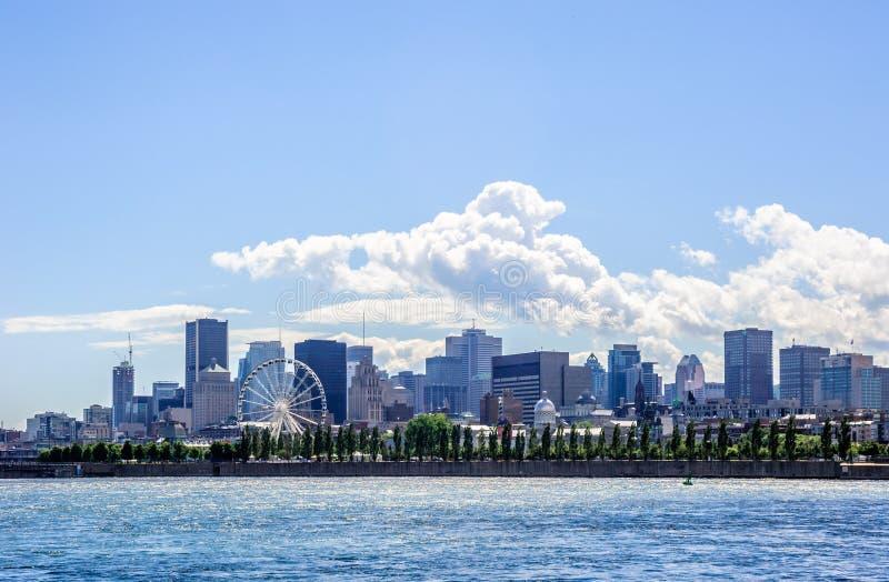 Orizzonte del centro osservato attraverso il fiume a Montreal, Quebec, Canada immagine stock libera da diritti