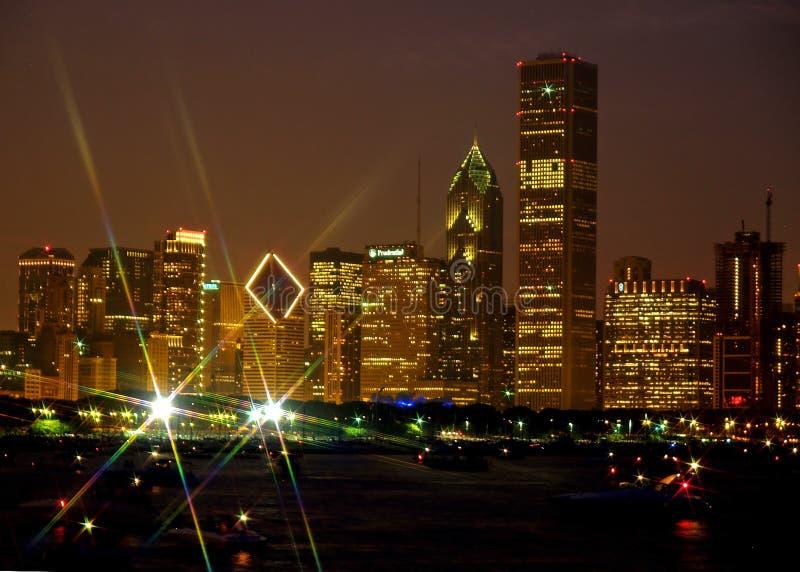 Orizzonte del Chicago con effetto della luce della stella fotografia stock