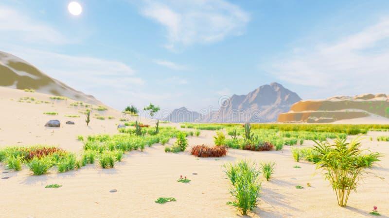 Orizzonte del deserto Giorno libero Montagne nella distanza, nelle dune di sabbia e nel cielo blu Bello paesaggio Dune di sabbia  illustrazione di stock