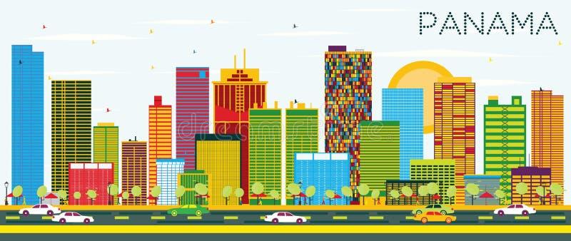 Orizzonte del Panama con le costruzioni ed il cielo blu di colore illustrazione di stock