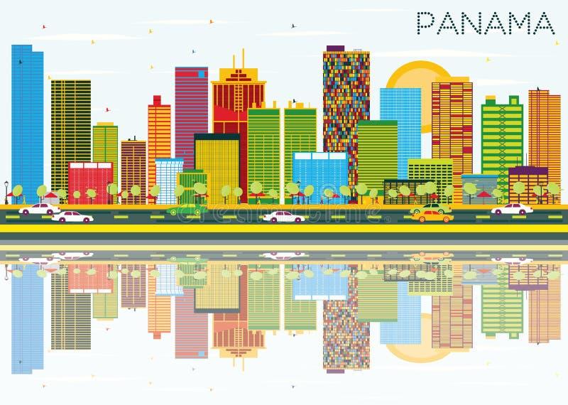 Orizzonte del Panama con le costruzioni, il cielo blu e le riflessioni di colore illustrazione vettoriale