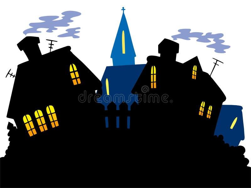 Orizzonte del villaggio del fumetto royalty illustrazione gratis