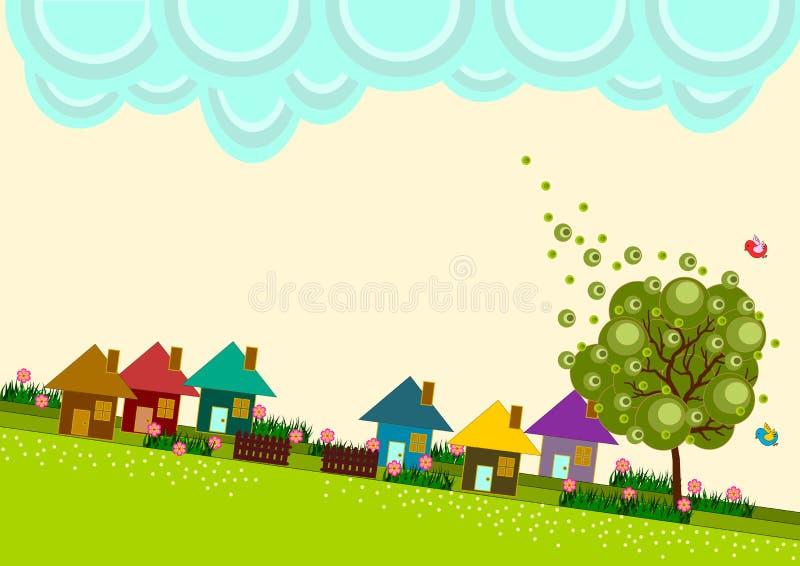 Orizzonte del villaggio della cittadina illustrazione vettoriale