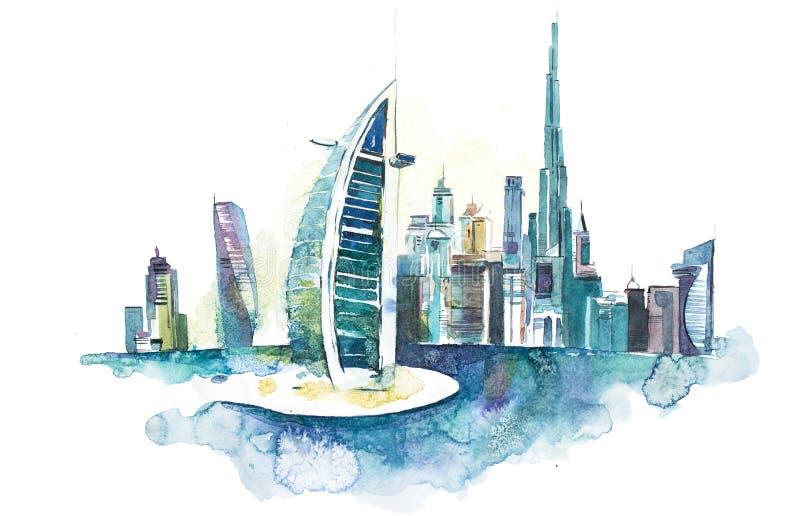 Orizzonte dell'orizzonte del punto di riferimento di paesaggio urbano del Dubai Illustrazione dell'acquerello illustrazione vettoriale