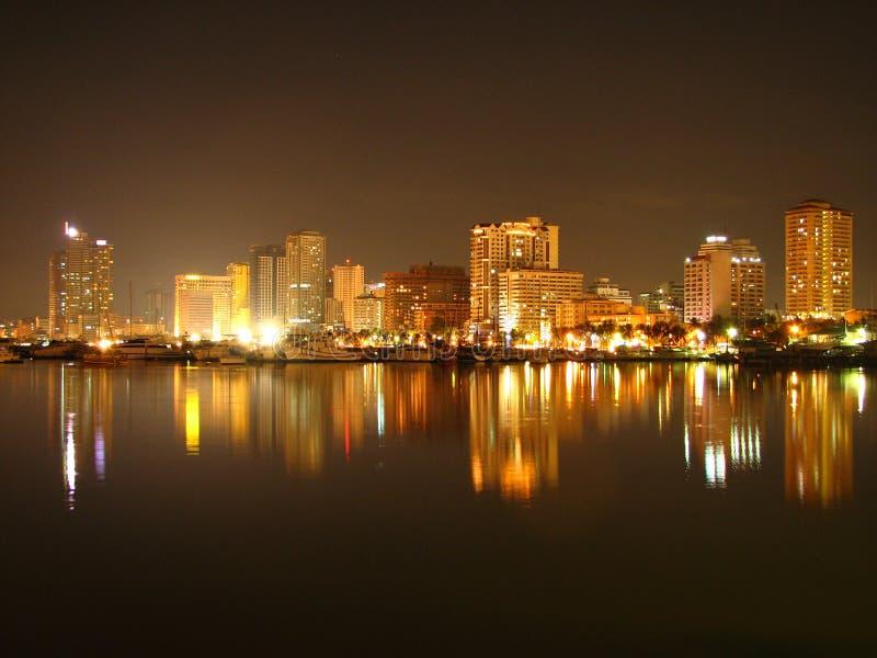 Orizzonte della baia di Manila fotografia stock libera da diritti