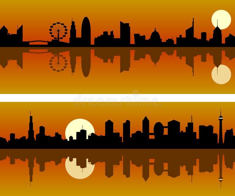 Orizzonte della città all'alba illustrazione di stock