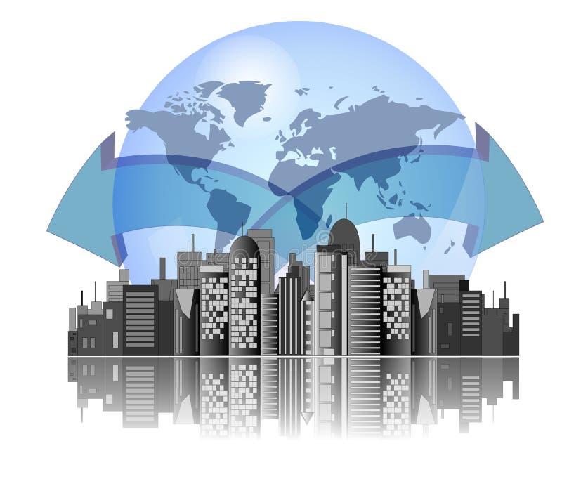 Orizzonte della città con la priorità bassa della terra royalty illustrazione gratis
