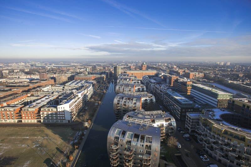 Orizzonte della città da sopra i Paesi Bassi fotografia stock libera da diritti