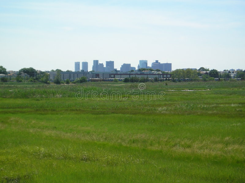 Orizzonte della città dalla sosta dell'isola della reginetta immagine stock