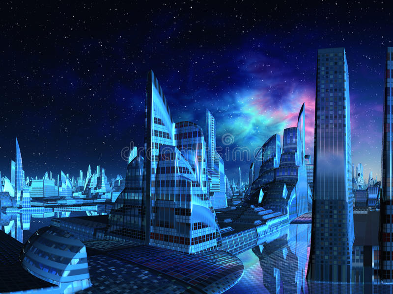 Orizzonte della città del Aquarius illustrazione di stock