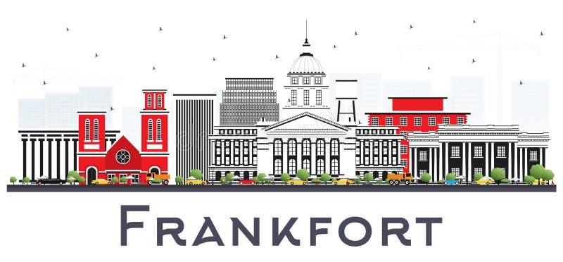 Orizzonte della città del Kentucky U.S.A. di frankfurter con Gray Buildings Isolated su bianco royalty illustrazione gratis