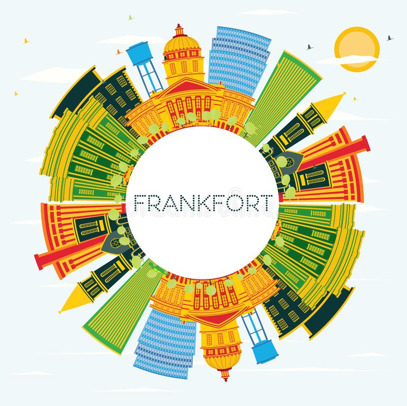 Orizzonte della città del Kentucky U.S.A. di frankfurter con le costruzioni di colore, il cielo blu e lo spazio della copia royalty illustrazione gratis