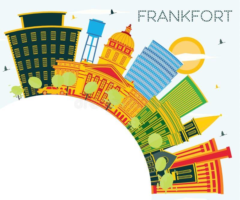 Orizzonte della città del Kentucky U.S.A. di frankfurter con le costruzioni di colore, il cielo blu e lo spazio della copia illustrazione vettoriale