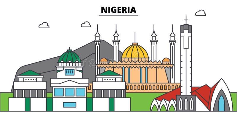 Orizzonte della città del profilo della Nigeria, illustrazione lineare, insegna, punto di riferimento di viaggio royalty illustrazione gratis