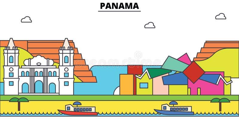 Orizzonte della città del profilo del Panama, illustrazione lineare, insegna, punto di riferimento di viaggio illustrazione vettoriale