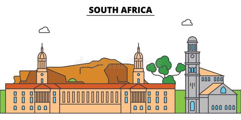Orizzonte della città del profilo del Sudafrica, illustrazione lineare illustrazione vettoriale
