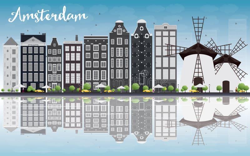 Orizzonte della città di Amsterdam con le costruzioni grige e la riflessione illustrazione di stock