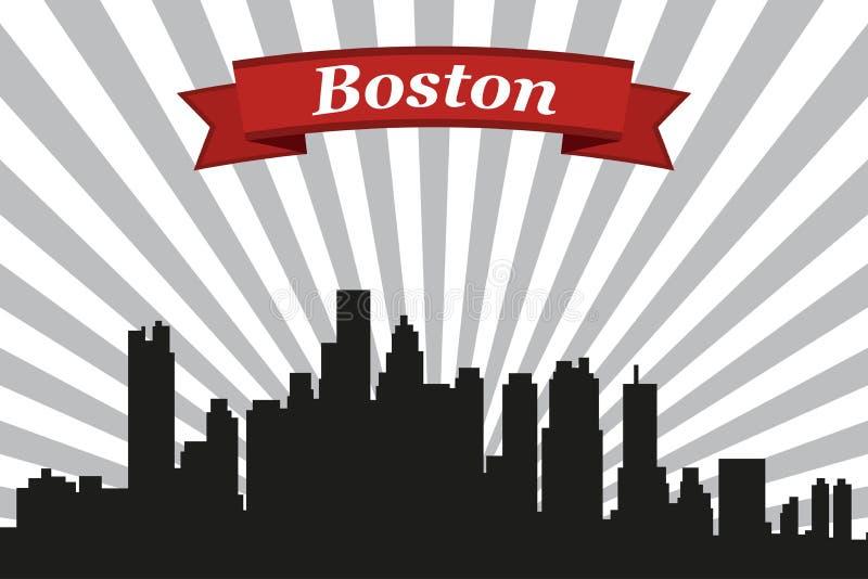 Orizzonte della città di Boston con il fondo ed il nastro dei raggi illustrazione di stock