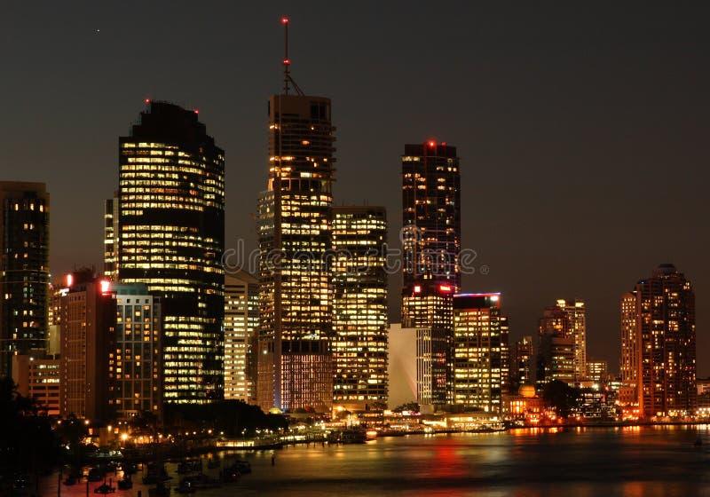 Orizzonte Della Città Di Brisbane Alla Notte Immagine Stock Libera da Diritti