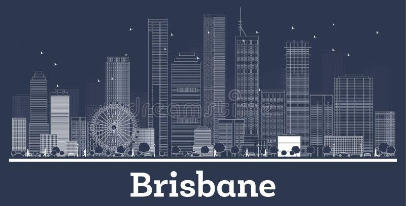 Orizzonte della città di Brisbane Australia del profilo con le costruzioni bianche illustrazione di stock