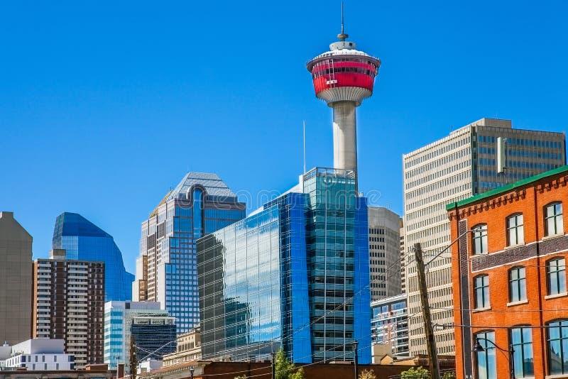 Orizzonte della città di Calgary Canada immagine stock libera da diritti